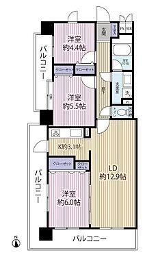 中古マンション-多摩市永山1丁目 室内リフォーム済。70.26m23LDKの間取りです。