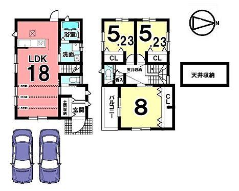 新築一戸建て-橿原市菖蒲町2丁目 18帖の大きなLDKを是非ご覧下さい!収納スペースを全室に確保。加えて天井収納ももうけました。並列で2台駐車可能です。