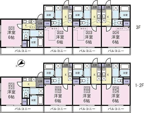 アパート-横浜市神奈川区入江1丁目 1Kタイプ 全12世帯 満室稼働中です。3階住戸はロフト付です。