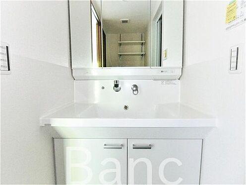 中古マンション-足立区谷在家2丁目 使い勝手のいい洗面台、照明、コンセントもついています