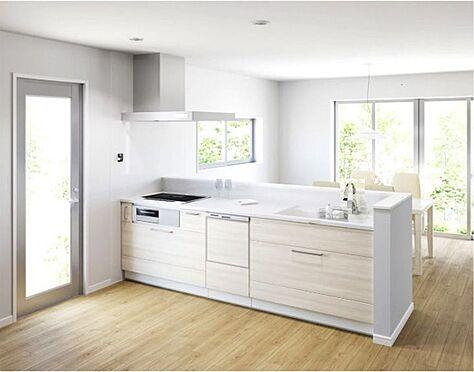戸建賃貸-西尾市戸ケ崎3丁目 タッチレス水栓、人造大理石一体型シンク採用でより快適なキッチン。家事の時短に食洗機付き。(同仕様)
