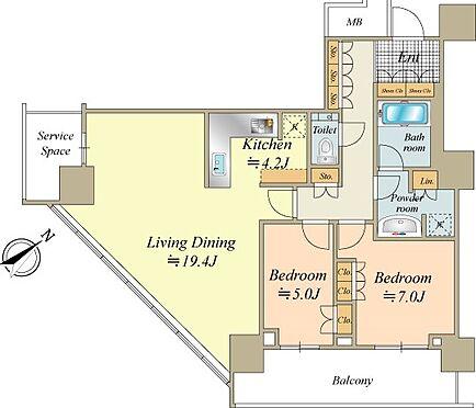 中古マンション-横浜市中区北仲通5丁目 83.60m2の2LDK。南東角住戸