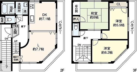住宅付店舗(建物全部)-大阪市福島区玉川3丁目 鉄骨造2・3階住居部分の間取りです。1階店舗、2階1・2・3号室は室内未確認のため間取り不明。平成30年フルリフォーム済。