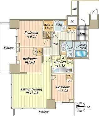 中古マンション-中央区晴海2丁目 こちらはお部屋の間取り図になります。大変使いやすい間取り、陽当り&通風良好です。