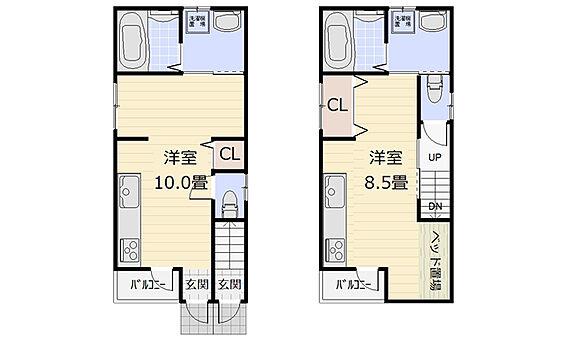 アパート-大阪市生野区鶴橋3丁目 【間取図】建物面積55.08m2。2016年11月築の1Rを各階に備えた2階建て。水廻りが集約された間取りです。1階と2階で玄関が異なりますので、単身の方や民泊などにおすすめの住まいです。