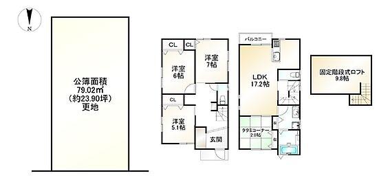 土地-京都市左京区岡崎西福ノ川町 区画図