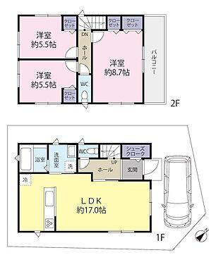 土地-世田谷区八幡山1丁目 参考プラン3LDK84.44m2。参考本体価格1,800万円