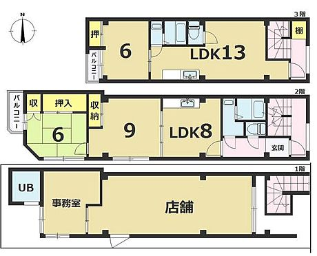 マンション(建物全部)-京都市左京区山端川端町 1F店舗 2F3F居住用