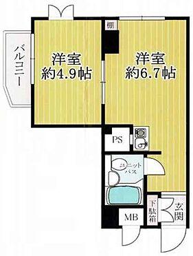 マンション(建物一部)-大阪市天王寺区悲田院町 水回りと居室スペースをわけた間取り