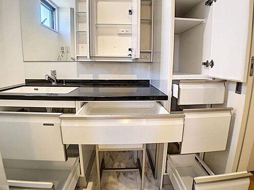 戸建賃貸-名古屋市中村区岩塚町 ホーロー製洗面化粧台は掃除も楽々、収納力も高いです!