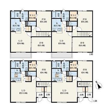 アパート-つくば市下広岡 2階建て賃貸物件間取り