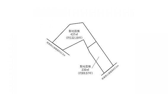 土地-豊田市中町橘畠 A区画:437平米(約132.19坪)、B区画:230平米(約69.57坪)