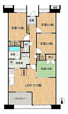 中古マンション-みよし市三好丘5丁目 専有面積約87.39平米で広々としたLDKの間取りです。