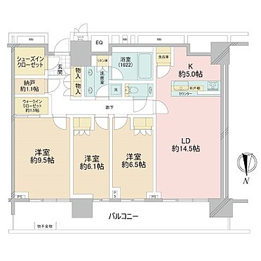中古マンション-中央区晴海2丁目 101.80m2の3LDK+WIC+SIC+N+TR